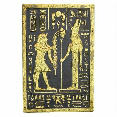"""Ancient Egyptian Art Pharaoh Seti Offering to the Goddes Mut 16"""" Wall Sculpture"""