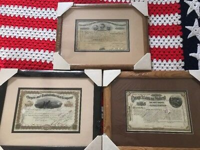 Lot Railroad Stock Certificates (Cancelled) 1873,1885,1891 Framed EVC Ships Free
