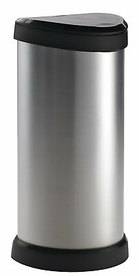 Waste Dust Bin One Touch Deco Easy Clean Metal Effect Plastic Silver 40L UK Made