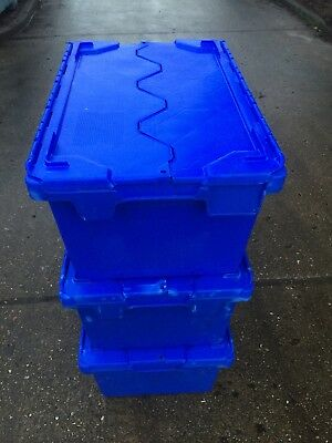 50 x Extra Large Heavy Duty Plastic Storage Lidded Tote Boxes 70x46x34cm 90Ltr
