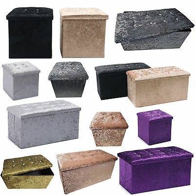 Incredible Crushed Velvet Diamante Ottoman Storage Box Folding Seat Ocoug Best Dining Table And Chair Ideas Images Ocougorg