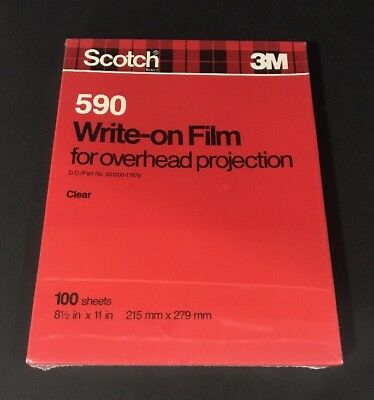 "3M NEW Write-On Transparency Film, 100 Clear Sheets, 8.5"" x 11"" Scotch 590"
