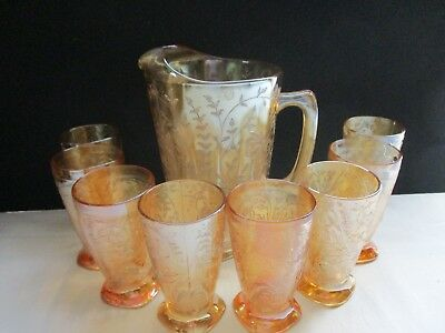 Floragold Louisa 8 Ounce Footedtumblers & Matching Pitcher From Jeanette Glass~