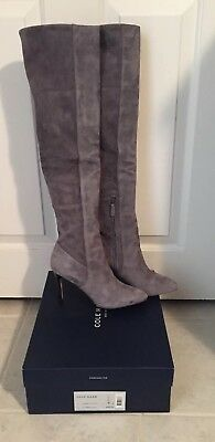 96d2a86d625 Cole Haan Marina OTK Boot Light Storm Cloud Suede Gray Over the Knee Boot