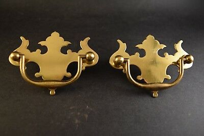 """Pair of Vintage Solid Brass Chippendale Pulls & Escutcheons 3 1/2"""" by 2 1/2"""""""
