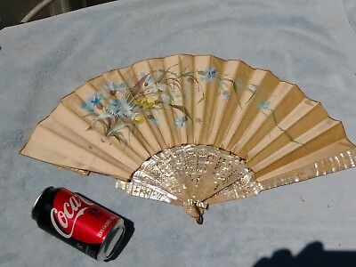 Antique French Chinese Hand Painted Ornate Flowers On Silk Fan