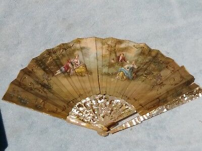Antique French Chinese Hand Painted Ornate Flowers On Signed  Fan