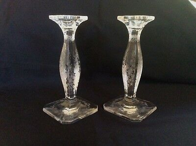 Vintage Etched Glass Candle Holders