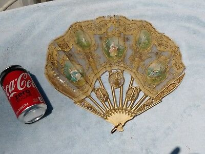 Antique French Chinese Hand Painted Ornate  Carved Victorian  Fan