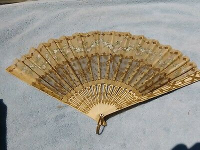 Antique French Chinese Hand Painted Ornate  Carved Bone  Fan