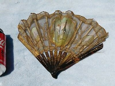 Antique French Chinesehand Painted Ornate  Carved. Faux Tortoise Fan