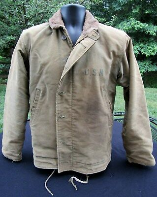 WWII US NAVY USN N1 Deck Jacket Size 38. Original Identified to Veteran!