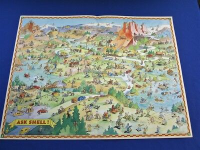 1930's Shell Gasoline Oil Don Bloodgood Map Shell Touring Service