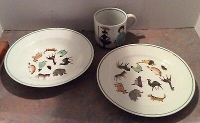 Vintage Arabia Finland PARADE Child Bowl Plate Cup Set Animals Native People