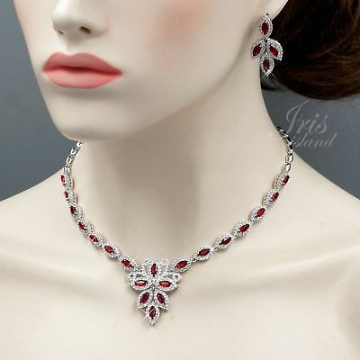 White Gold Plated Red Cubic Zirconia Necklace Earrings Wedding Jewelry Set 02391