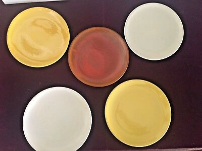 """Lot of 5 Catalina Island Pottery 10""""  Plates - Yellow & Cream & Red"""