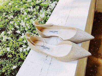e3d387a50be5 JIMMY CHOO  BRAND New Lucy Lame Glitter Ankle-Strap Flats -  350.00 ...