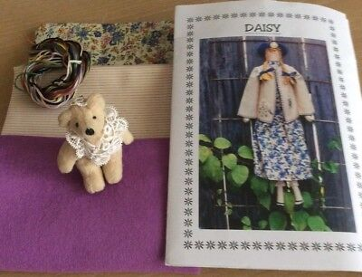 Daisy Cloth Doll Pattern Embriodery Jacket, Quilting Fabric, Bear Brooch, Craft