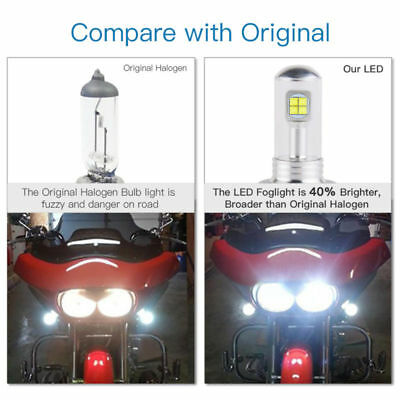 2pcs White H7 Motorcycle LED Headlight Bulbs High Beam CREE Chips 1500LM 80W