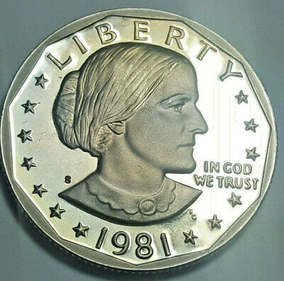 1981-S Type 1 Clear 'S' Susan B. Anthony Dollar Proof Deep Cameo BU