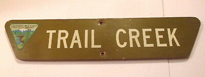 Vintage 1970s TRAIL CREEK wooden BLM NFS sign government forest hike