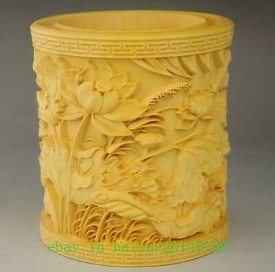 natural wood hand-carved Lotus sculpture brush pen pot Very fine e02