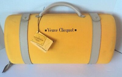 Veuve Clicquot Champagne Bottle 2 glass Traveler Carry Case Yellow 750 ml