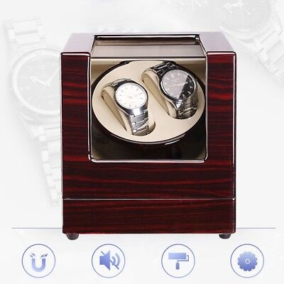 Automatic Rotation 2 Grids Watch Winder Display Box Luxury Wooden Storage Case