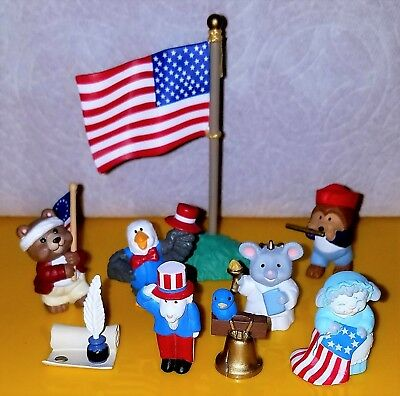 Hallmark FOURTH OF JULY PATRIOTIC Merry Miniatures Bell Eagle Uncle Sam Flute