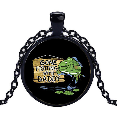 Vintage Fishing With Daddy Black Cabochon Glass Necklace chain Pendant