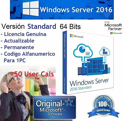 Windows Server 2016 Standard Licencia KEY RETAIL + 50 RDS USER CALS
