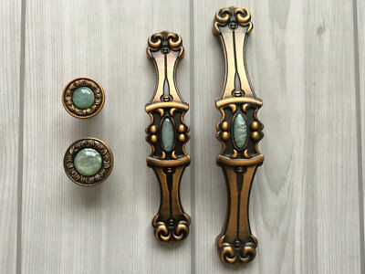"3.75"" 5"" Drawer Pull Cabinet Handles Antique Brass Dresser Knobs Green 96 128 mm"