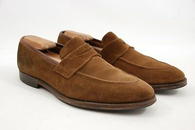 44a70ac5465 Crockett   Jones England Sydney Brown Suede Penny Loafers Men s Shoes 10E