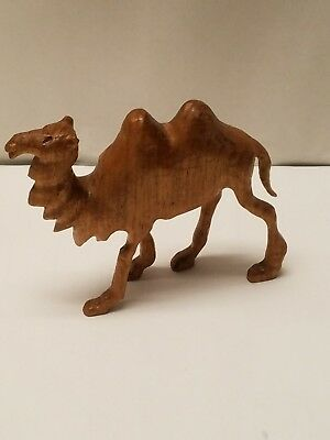 "Wooden Camel Hand Carved Animal Figurine M.McKee 2003  4 3/4""H X 5 3/4""L 1 1/2""W"