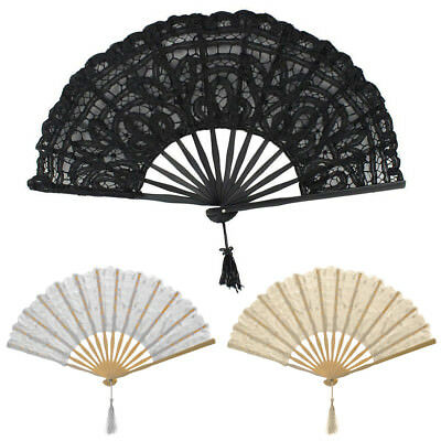 Handmade Cotton Lace Folding Hand Fan for Party Bridal Wedding Decoration AU