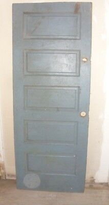 Antique Vintage Wood Interior  Door Green/Gray on one side and Brown on other