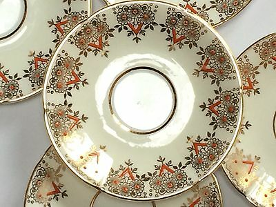 Vintage English China Saucers Art Deco Gold Red Clare Tea Party High Tea X 5