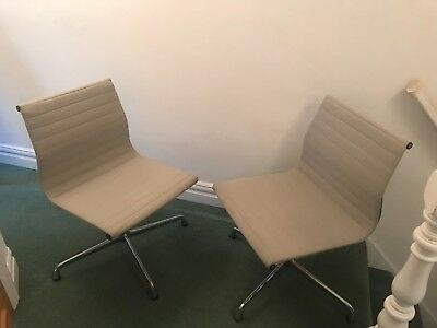 Pair of Genuine Charles Eames EA108 Aluminium Group Chairs by ICF.