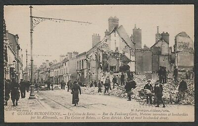e1505)   WW1 ERA POSTCARD - CRIME OF REIMS - CERES DISTRICT -MOST BOMBED STREET