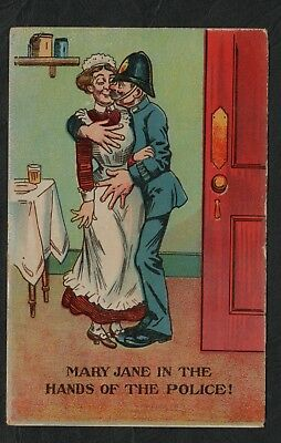 e1898)         COMIC POSTCARD Ca.1913 - MARY JANE IN THE HANDS OF THE POLICE!
