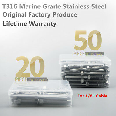 """T316 Stainless Steel Swage Threaded Tensioner for 1/8"""" Cable Railing Systems UPS"""