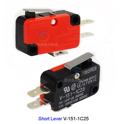 15A Limit Micro Switch Short Lever Arm  V-151-1C25 Momentary SPDT Snap Action
