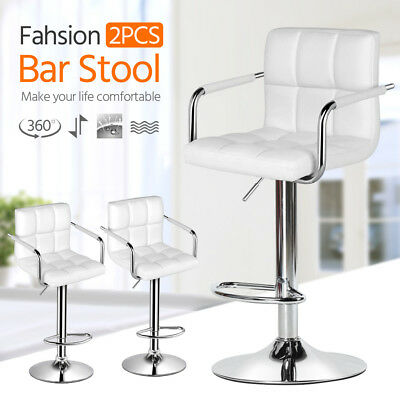 Swivel Bar Stool Kitchen Breakfast Leather Dining Barstool Chair Gas Lift White