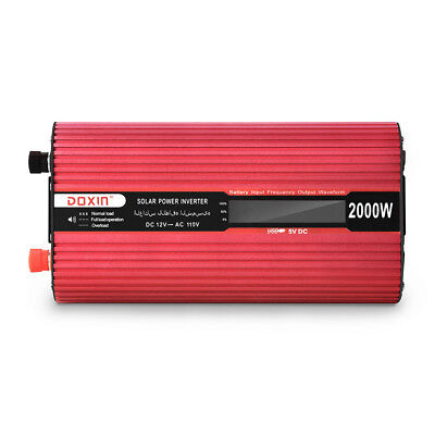 2000W 12V to 110V Pure Sine Wave Power Inverter Dual USB Ports with Car Charger