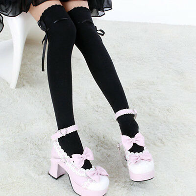 Lolita Women Girls Sexy Cotton High Socks Thigh Hosiery Stockings Over The Knee