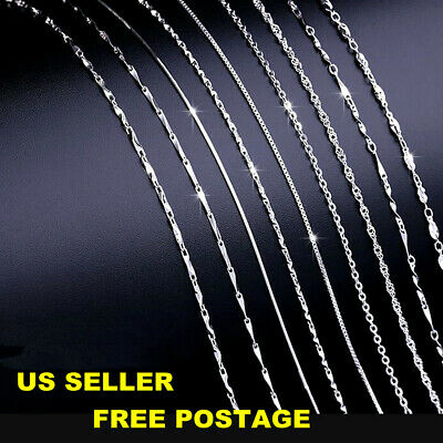 """16"""" 18"""" Vintage Solid REAL 925 Sterling Silver Chain Necklace Jewelry Italy NEW"""
