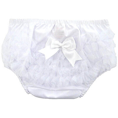 Baby Girls Frilly Pants Knickers Cotton White Organza Satin Bow Soft Touch 6-12m