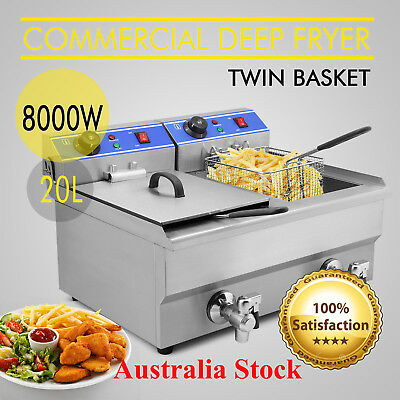 Deep Fryer Commercial Electric Twin Cooker 20L Double + Basket Stainless Steel