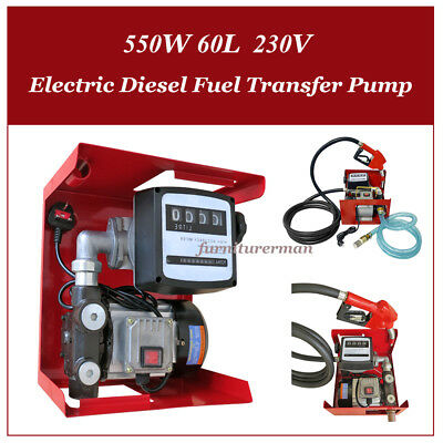 230V Wall Mounted Electric Diesel Fuel Transfer Pump 550W 60L Automatic Nozzle