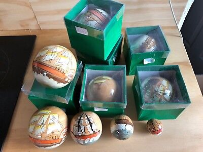 6 Japanese Vintage Hand Painted Wooden Russian Doll Balls With Boat Sea Design